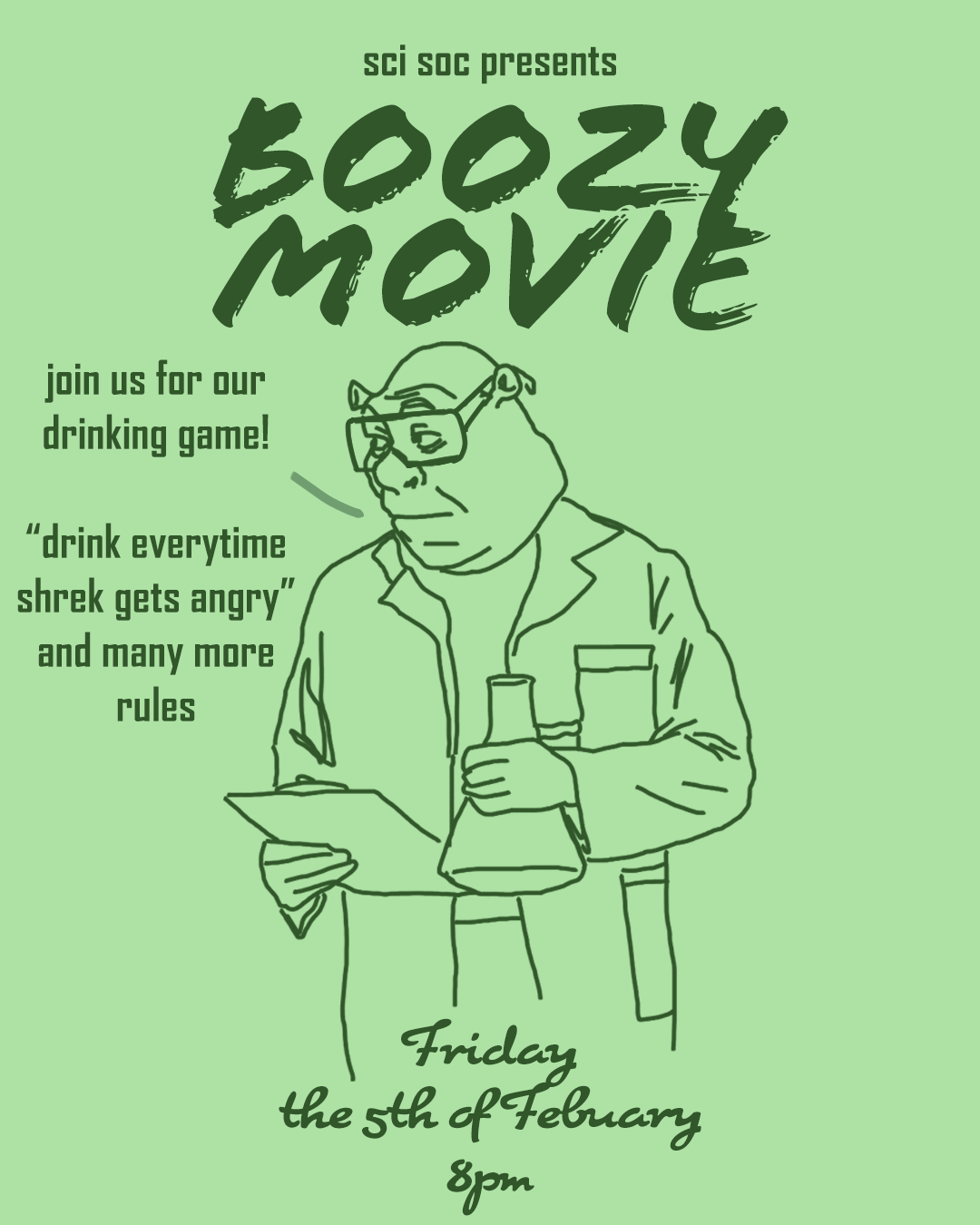 scisoc boozy movie night poster