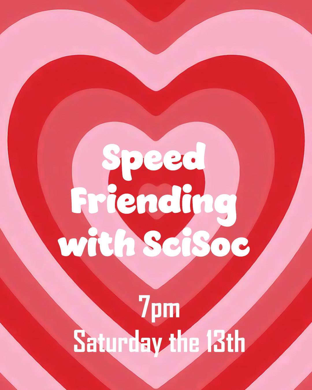 poster for speed friending with scisoc